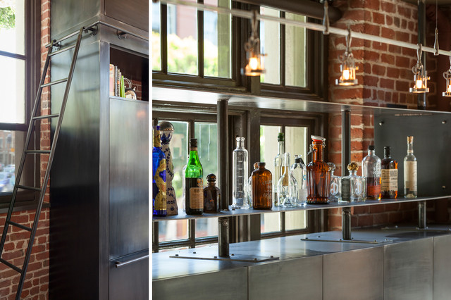 Clocktower Loft - Industrial - Home Bar - san francisco - by Muratore Constru...