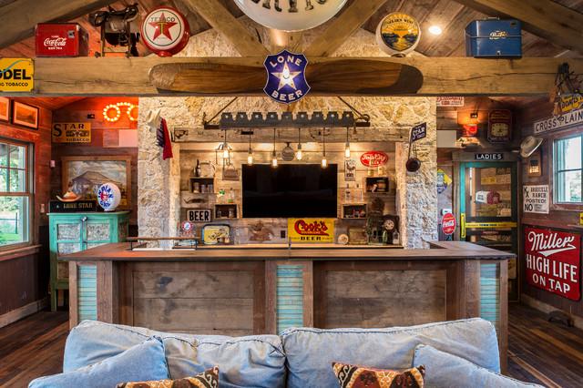 Comal county ranch house r stico bar en casa austin for Bares rusticos decoracion