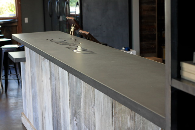 Charming Concrete Bar Top Craftsman Home Bar