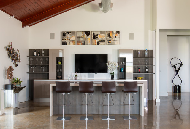 Great Seated Home Bar   Contemporary Seated Home Bar Idea In Houston With Open  Cabinets And Dark