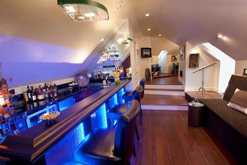 bar ultra moderne avec lumières bleutées