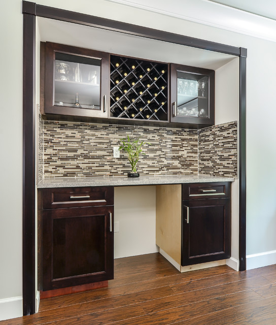 Contemporary Home Bar With Shaker Style Cabinets Vancouver