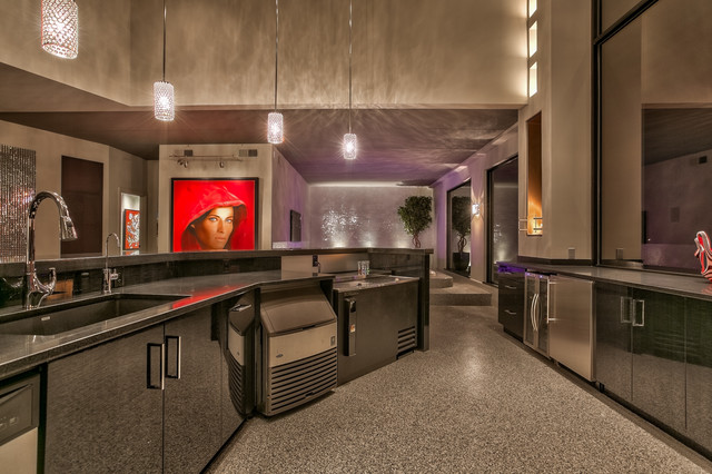 Contemporary Masterpiece Contemporary Home Bar Omaha By Eurowood Cabinets Inc