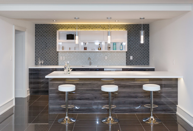 Inspiration For A Mid Sized Contemporary Galley Ceramic Floor And Brown Seated Home Bar