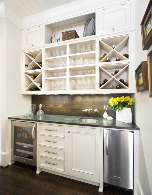 X-boxes in the kitchen cabinetry for built-in wine storage. & wine storage | Maureen Stevens