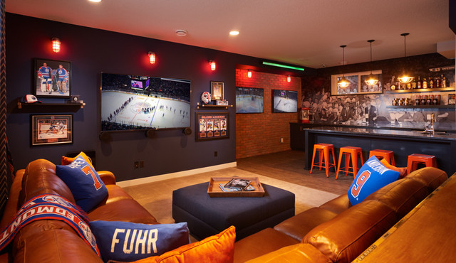 homes oilers fan cave newcastle showhome transitional home bar