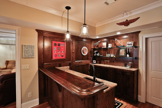 Cozy Finished Basement traditional-home-bar