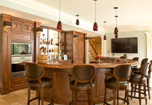 Curved Family Room Bar Traditional Home Bar Columbus