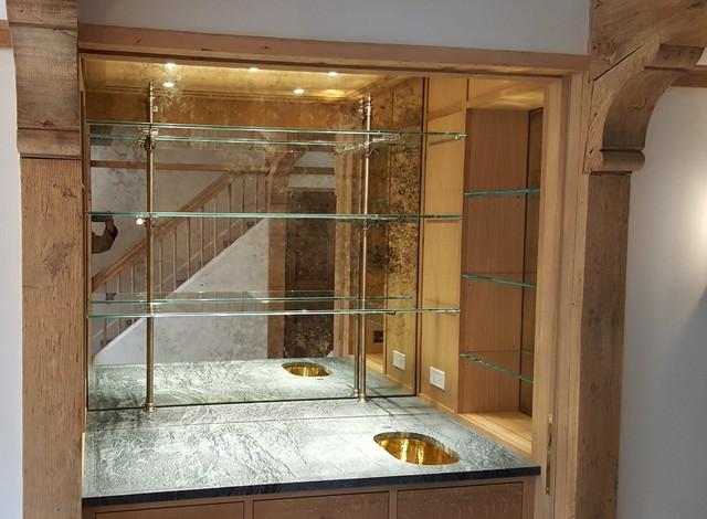 Custom Antique Mirror Backsplash And, Bar Mirror With Glass Shelves