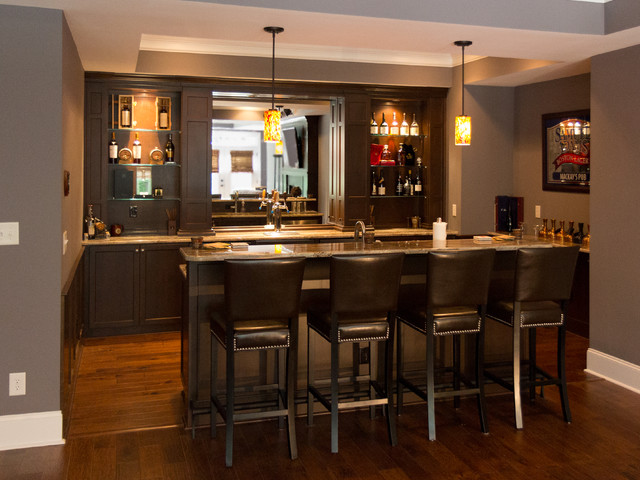 Custom bar living area contemporary home bar raleigh by masterworks custom cabinets llc Home bar furniture raleigh nc