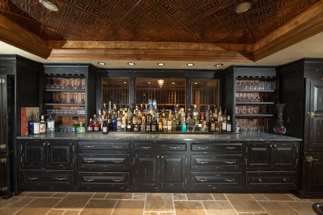 Charming Custom Built Home Basement Bar Traditional Home Bar