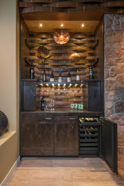 Custom Built In Wine Storage Southwestern Home Bar