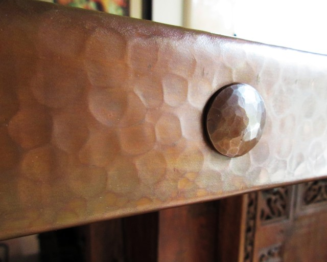 Custom Handmade Copper Clavos On Hammered Copper Countertop  Southwestern Home Bar