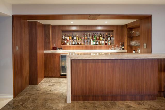 Custom home bar and entertainment area contemporary for Entertainment bar for home