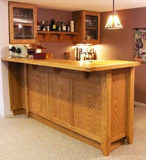 Custom Oak Basement Bar Traditional Home Bar