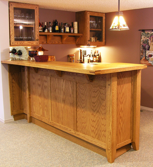Custom Oak Basement Bar Traditional Home