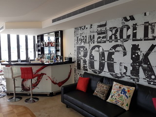 Custom Rock n Roll Wall mural modern-home-bar