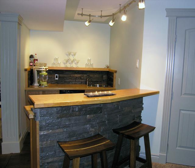 Custom Bars Wet Bar Ideas For Basement: Custom Wood And Stone Basement Wet Bar & Custom Bar Stools