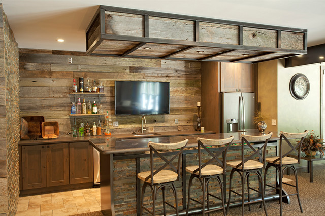Driftwood Basement : rustic home bar from www.houzz.com size 640 x 426 jpeg 114kB