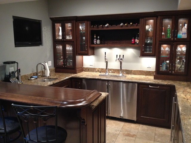 Dunn bar and basement traditional basement indianapolis by kline cabinetmakers llc Home bar furniture with kegerator