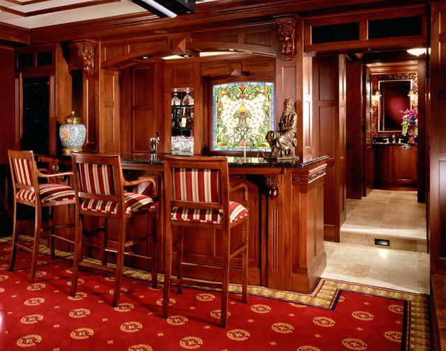 English Pub Bar Traditional Family Room Minneapolis