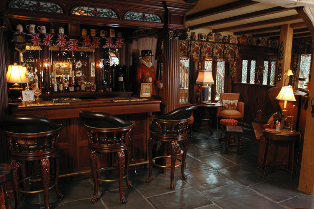 English Style Basement Pub Traditional Home Bar
