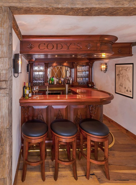 English Style Basement Pub Traditional Home Bar Burlington By Ober Woodworking