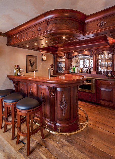 English style basement pub - Traditional - Home Bar ...