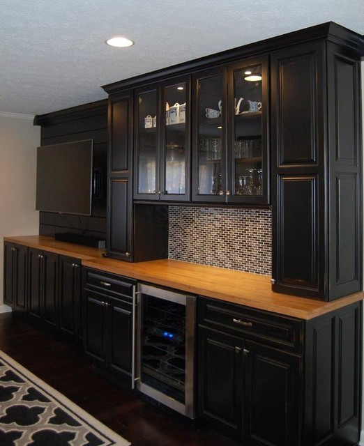 Home bar - transitional home bar idea in Indianapolis