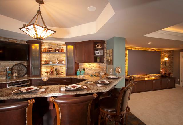 Entertaining Areas Transitional Home Bar Cincinnati By Jocelyn Privett