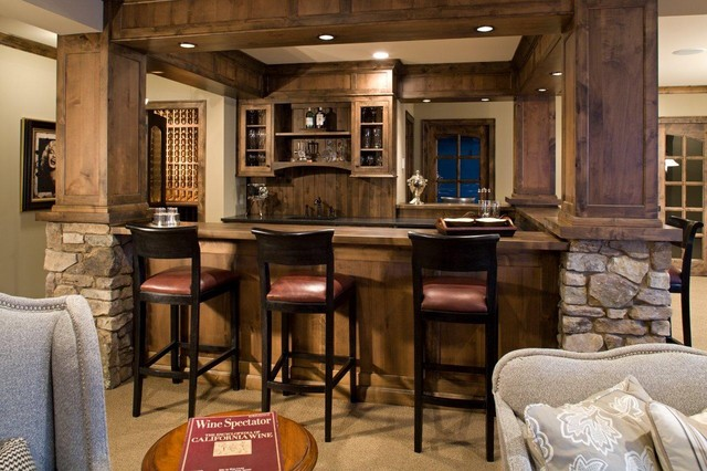 Family Room rustic-home-bar