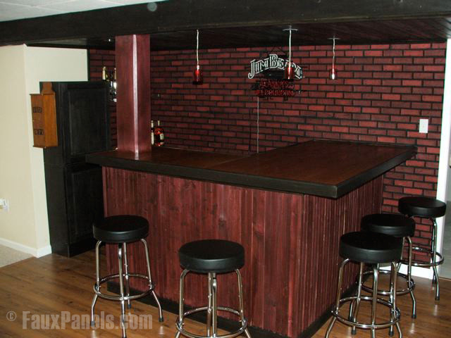 Man Cave With Brick Wall : Faux brick home bar designs transitional