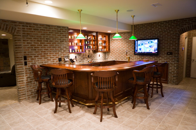Finished brick basement bar room game room home bar other metro by glen gery brick - Home bar rooms ...