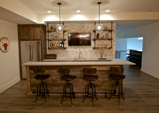 Forest rustic modern farmhouse for Farmhouse basement