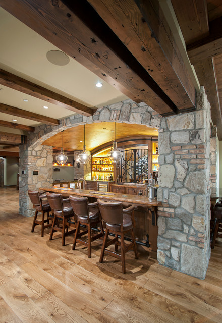 Fort Langley Rustic Home Bar Vancouver By Old World Kitchens Custom Cabinets