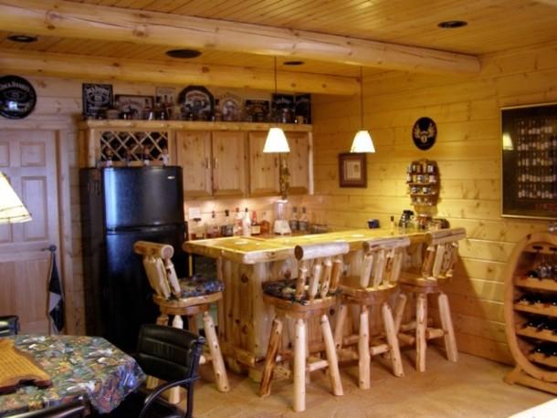 Full Log Home In Central Minnesota Rustic Home Bar