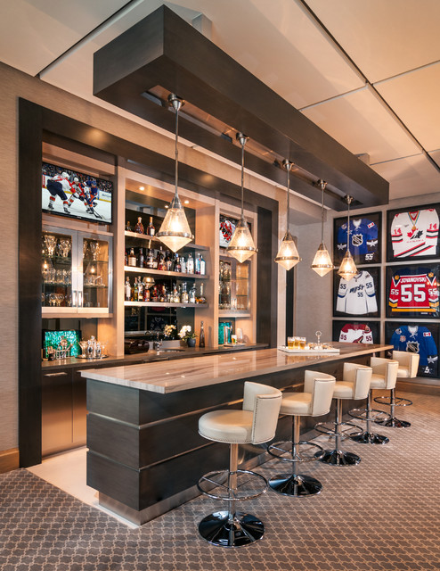 Game Room Bar - Contemporary - Home Bar - miami - by Marmol Export USA