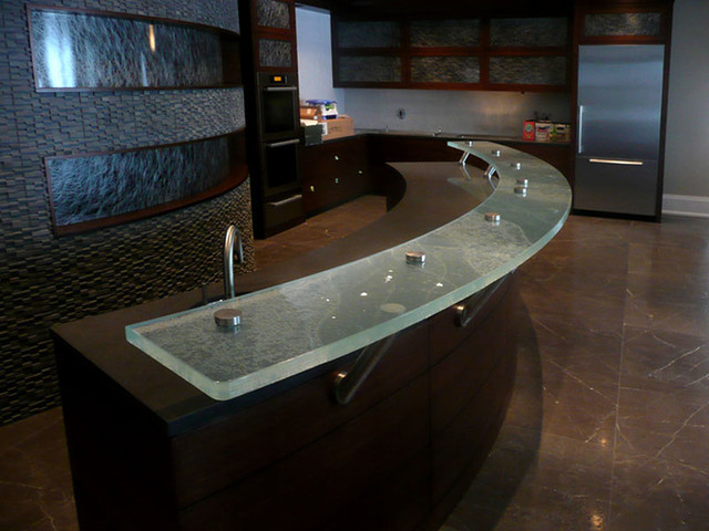 Glass Bar Top Contemporary Home Bar