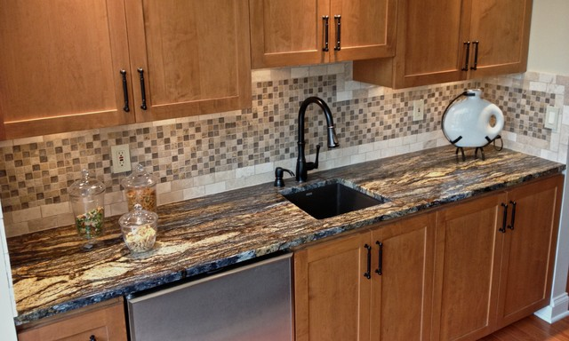 Marvelous Granite And Engineered Quartz Countertops Traditional Home Bar