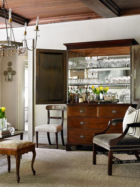 Gray Living Room Traditional Home Bar
