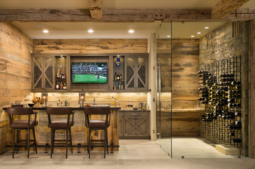in home bars design. Photo by NDG Architecture  Discover rustic home bar design ideas Trending Now 8 Popular Ideas in Home Bars
