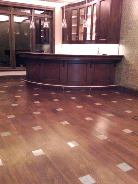 Hardwood Flooring Traditional Home Bar Dallas By