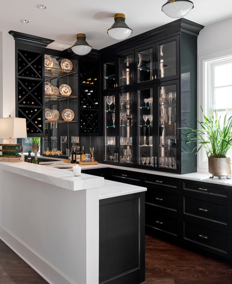 High Gloss Lacquered Cabinet Finishes In A Luxurious Home Bar And Butlers Pantry Transitional Home Bar Austin By Paper Moon Painting