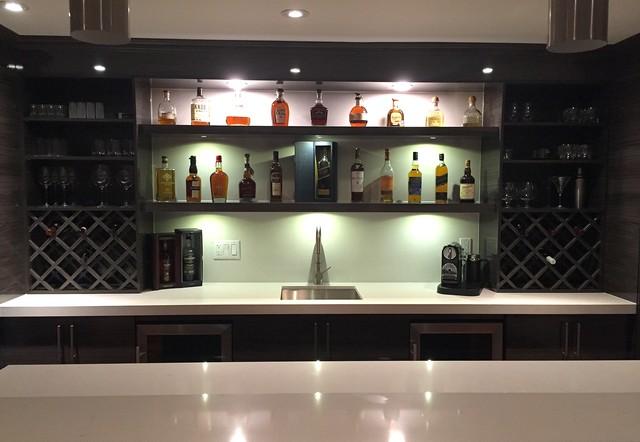 High Gloss Modern Basement Bar