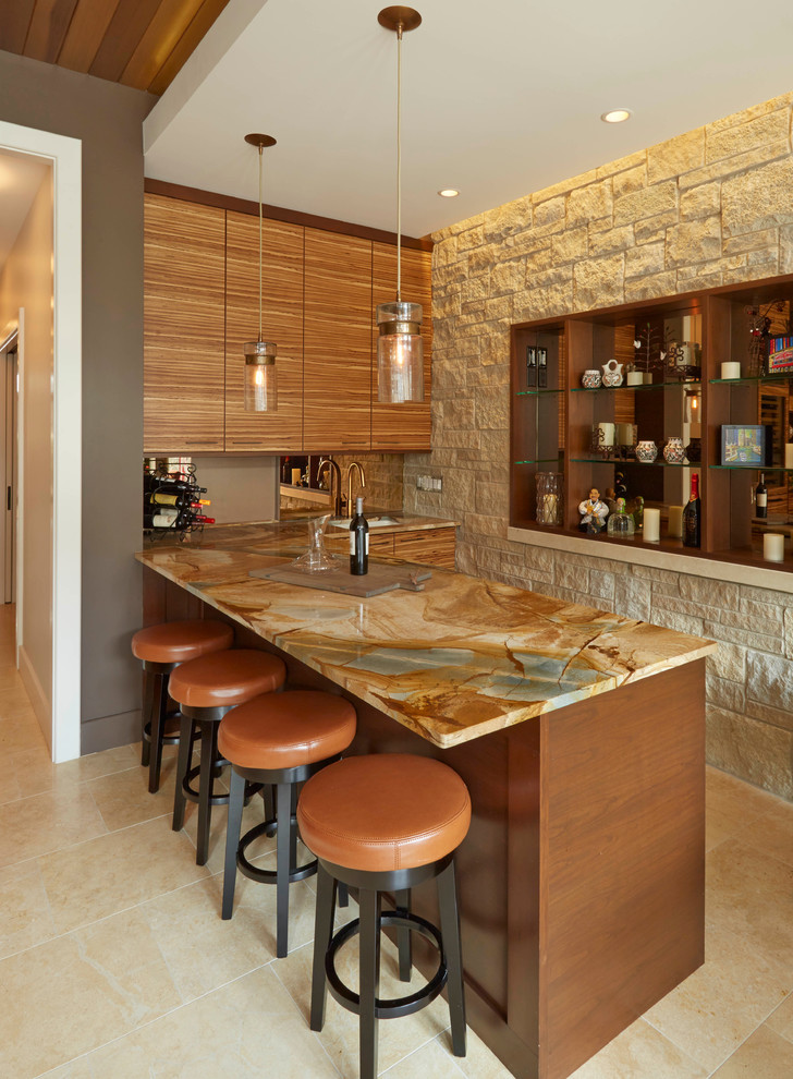 Seated home bar - contemporary seated home bar idea in Chicago with medium tone wood cabinets and flat-panel cabinets