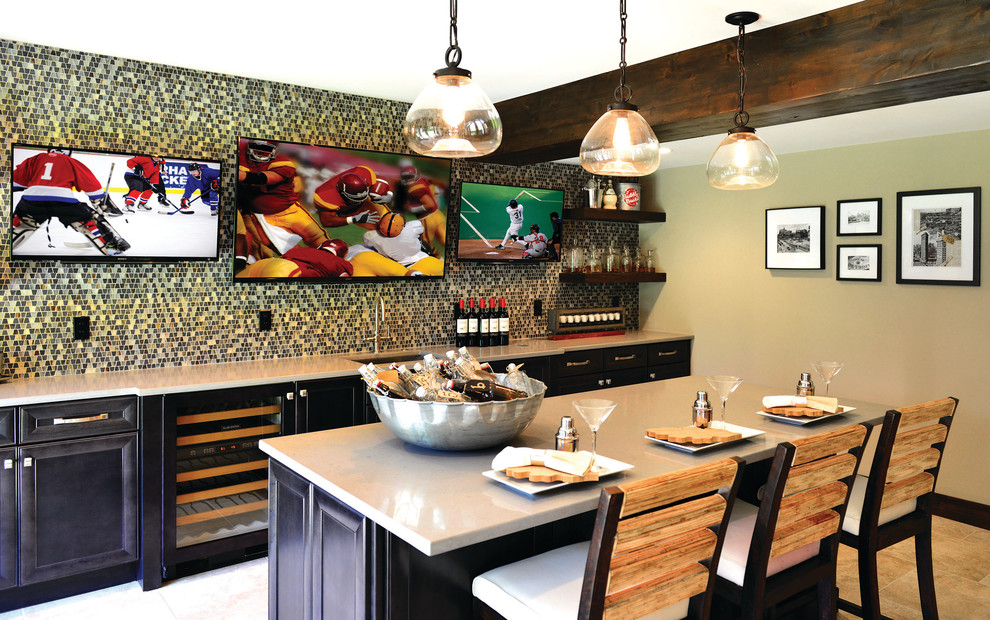 Example of a large trendy galley ceramic tile and beige floor seated home bar design in Detroit with an undermount sink, recessed-panel cabinets, dark wood cabinets, quartz countertops, multicolored backsplash and mosaic tile backsplash