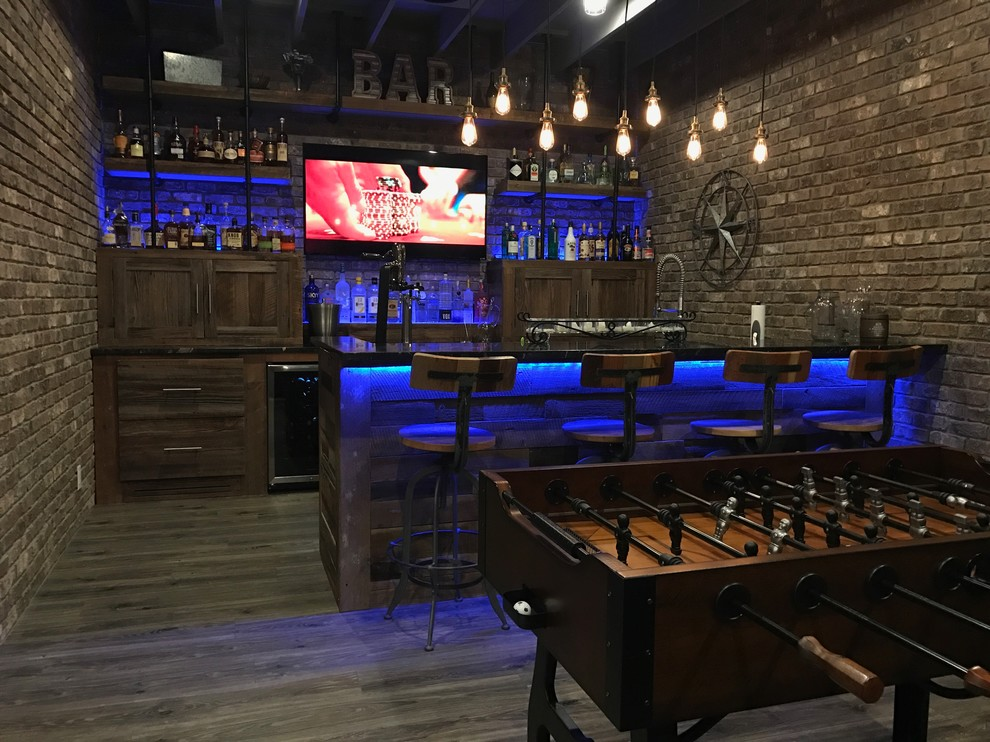 Home bar - industrial home bar idea in Atlanta