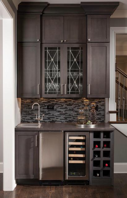 Industrial contemporary transitional home bar - Living room bar ideas ...