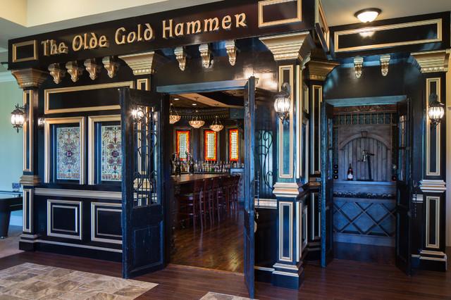Irish pub eclectic home bar atlanta for Irish pub decorations home