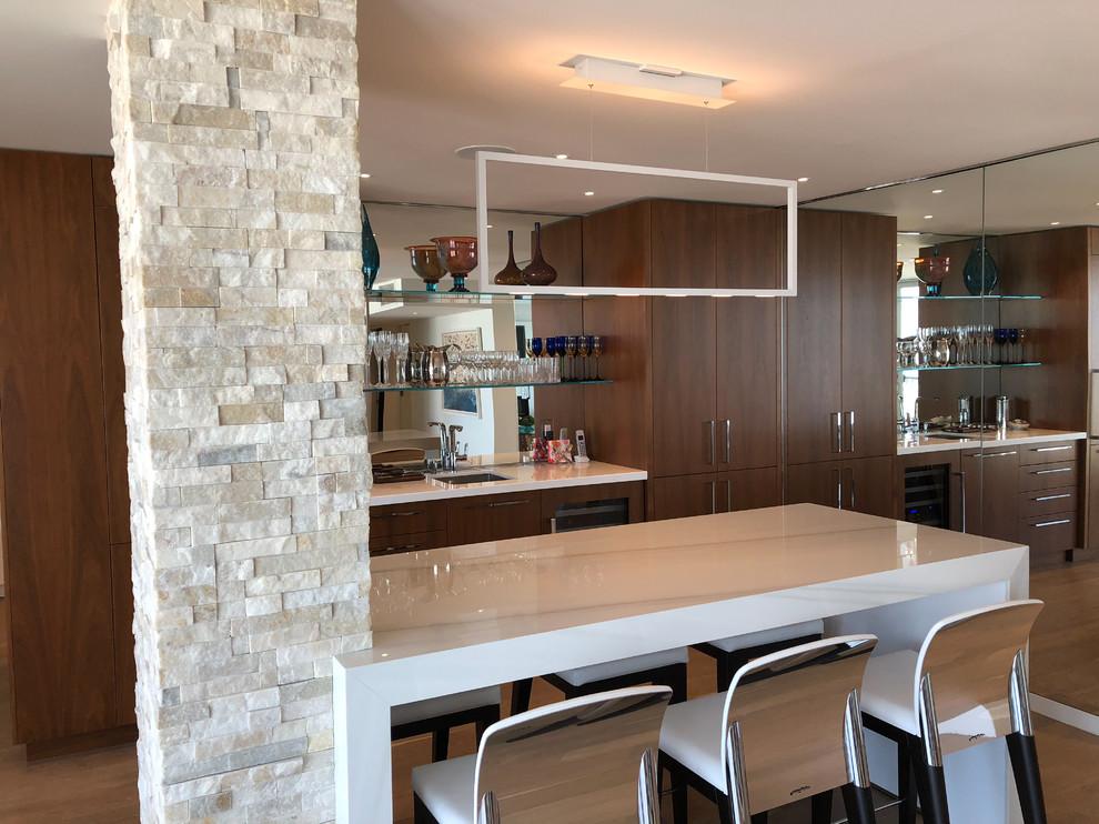 Example of a minimalist home bar design in Philadelphia